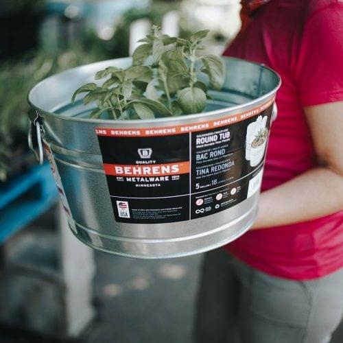 5 Gallon Galvanized Steel Round Tub