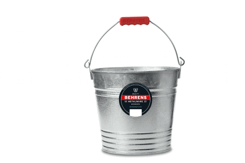 Hot dipped galvanized pail with red comfort grip on bale
