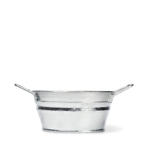 1 Quart Hot Dipped Steel Mini Round Tub with Fixed Handles