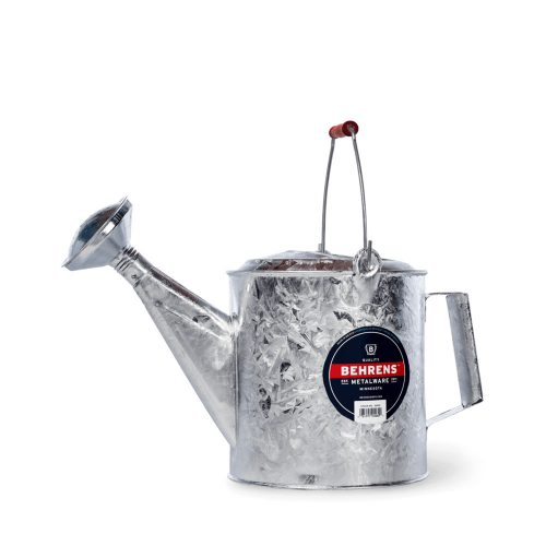 206RH 1 and half Gallon Hot Dipped Steel Watering Can with Red Wooden Handle