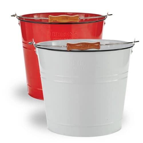 Round red & round white pails