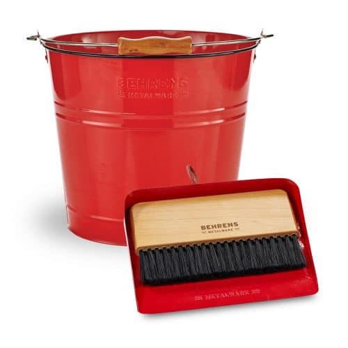 round red pail and red dustpan and brush