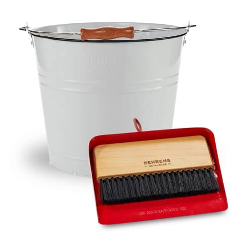 white round pail and red dustpan and brush