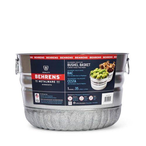Metalware Classics Galvanized Steel Bushel Basket