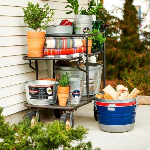 Signature Collection Painted Basket and Metalware Classic Galvanized Steel Tubs