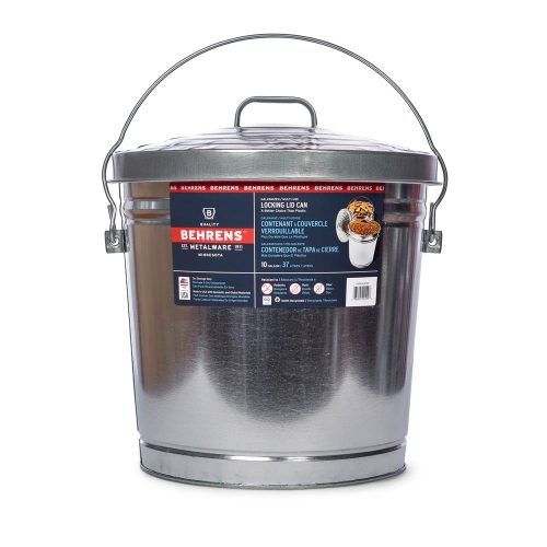 Metalware Classics 10 Gallon Galvanized Steel Can with Locking Lid