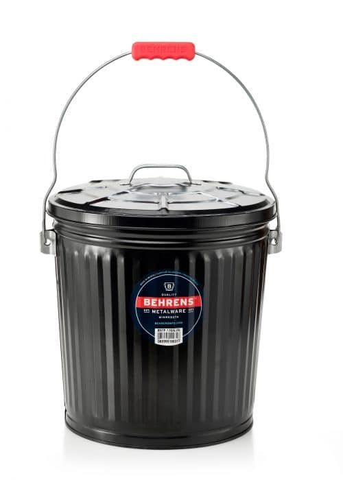 black painted galvanized steel ash pail with a red comfort grip
