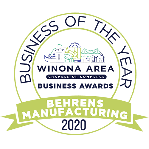 Business of the year badge for 2020 from Winona chamber of commerce