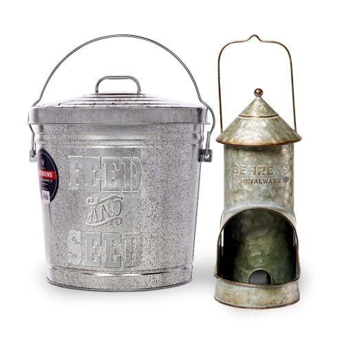 Bird Lover Kit with Aged Galvanized Bird Feeder and Embossed Pail