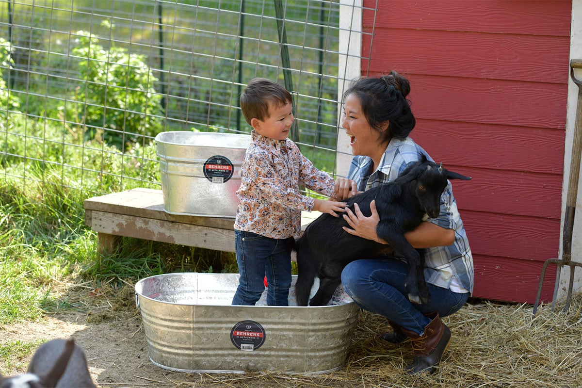 A child reach out to mother while standing in a metal tub next to a baby goat