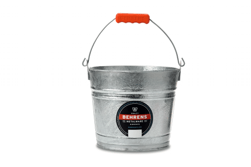 hot dipped galvanized pail with orange comfort grip on bale