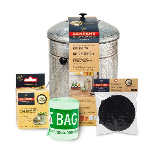 Indoor Composting Bundle Pack Large Aged-Galvinized