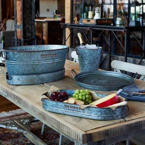Aged Galvanized Steel Trays and Tubs for Entertaining