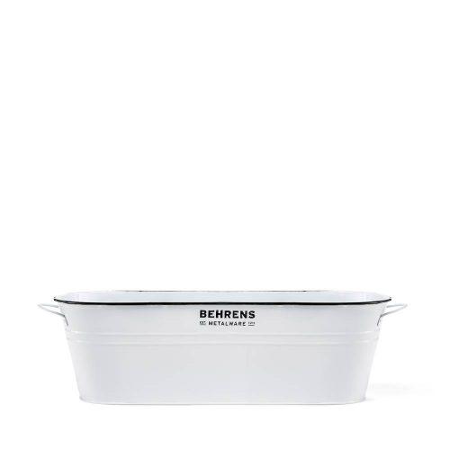 2-1/2 Gallon Galvanized Steel Oval Storage Tub White